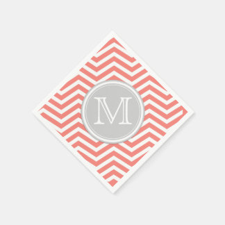 Coral Pink and White Chevron with Monogram Napkin
