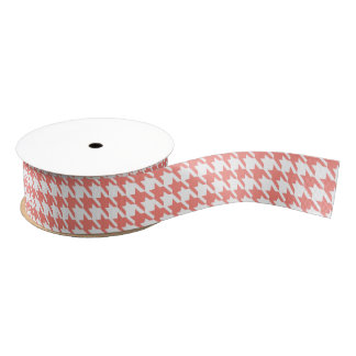 Coral Pink and White Houndstooth Pattern Grosgrain Ribbon