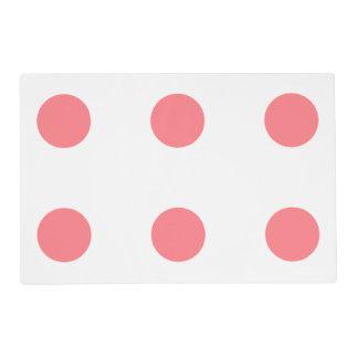 Coral Pink and White Polka Dot Reversible Laminated Placemat