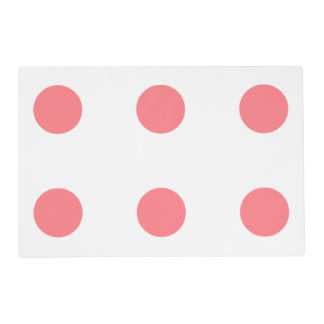 Coral Pink and White Polka Dot Reversible Placemat