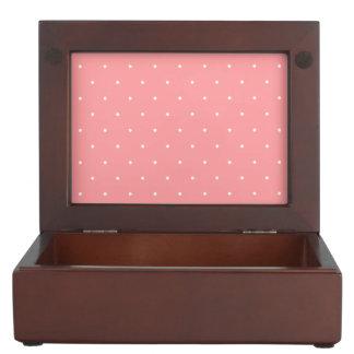 Coral Pink and White Polka Dots Spots Keepsake Box