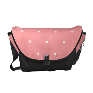 Coral Pink and White Polka Dots Spots Courier Bags