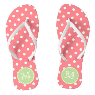 Coral Pink and White Polka Dots with Mint Green Flip Flops