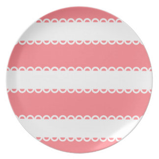 Coral Pink and White Ribbons Dinner Plate