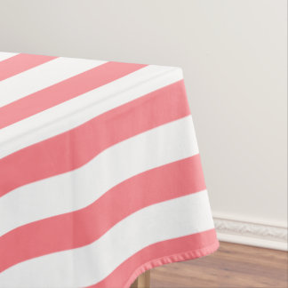 Coral Pink and White Stripe Tablecloth