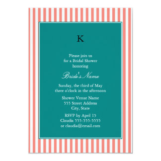Coral Pink and White Stripes , Teal Bridal Shower Card