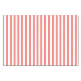 Coral Pink and White Stripes Tissue Paper