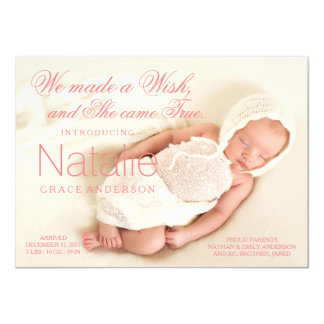 Coral Pink Baby Girl Birth Announcements