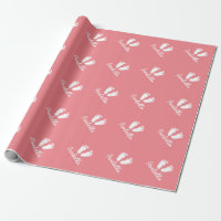 Coral pink baby shower footprints wrappingpaper