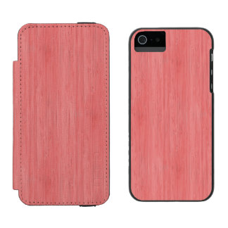 Coral Pink Bamboo Wood Grain Look iPhone SE/5/5s Wallet Case