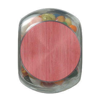 Coral Pink Bamboo Wood Grain Look Jelly Belly Candy Jars