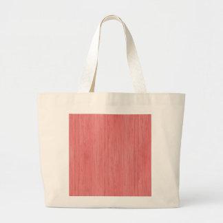 Coral Pink Bamboo Wood Grain Look Large Tote Bag