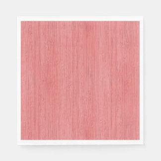 Coral Pink Bamboo Wood Grain Look Napkin
