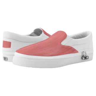 Coral Pink Bamboo Wood Grain Look Printed Shoes
