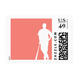 Coral Pink Baseball Postage Stamp