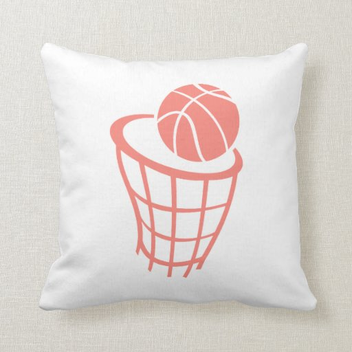 Coral Pink Throw Pillows : Coral Pink Basketball Throw Pillow Zazzle