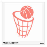Coral Pink Basketball Wall Stickers