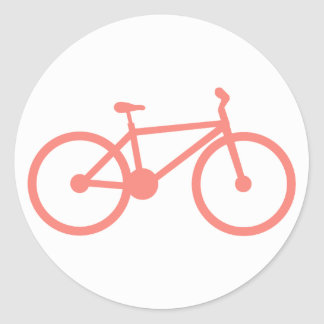 Coral Pink Bicycle Classic Round Sticker
