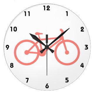 Coral Pink Bicycle Wall Clocks