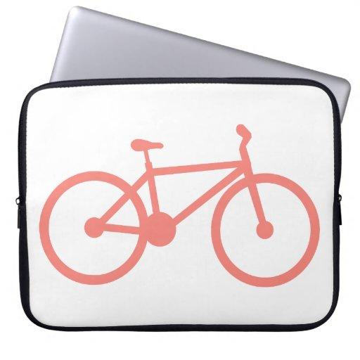 Coral Pink Bicycle Laptop Sleeves