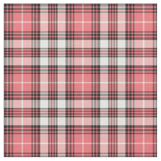 Coral Pink, Black and White Girly Plaid Fabric