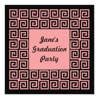 Coral Pink Black Key Grad Party Invitation
