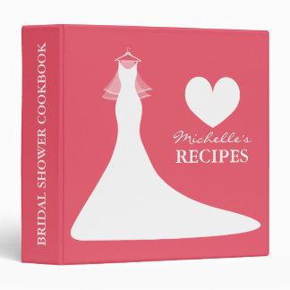 Coral pink bridalshower cookbook recipe binder