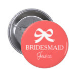 Coral pink bridesmaid button for wedding party pinback buttons