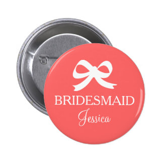 Coral pink bridesmaid button for wedding party
