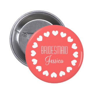 Coral pink bridesmaid button with white hearts