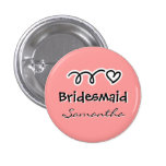 Coral pink bridesmaid buttons | personalized name