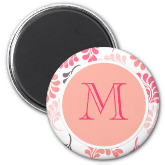 Coral Pink Brown Floral Pattern 2 Inch Round Magnet