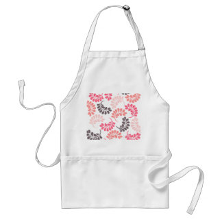 Coral Pink Brown Floral Pattern Adult Apron