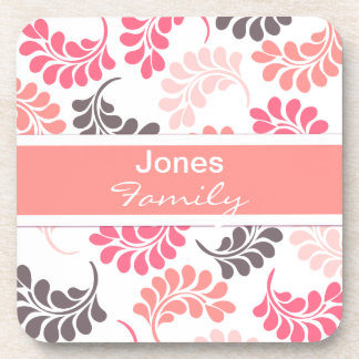 Coral Pink Brown Floral Pattern Drink Coaster