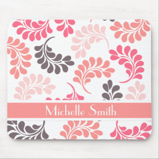 Coral Pink Brown Floral Pattern Mouse Pad