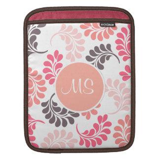 Coral Pink Brown Floral Sleeves iPad Sleeve
