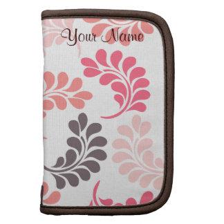 Coral Pink Brown Floral Sleeves Folio Planners