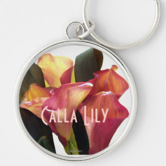 Coral Pink Callas Silver-Colored Round Keychain
