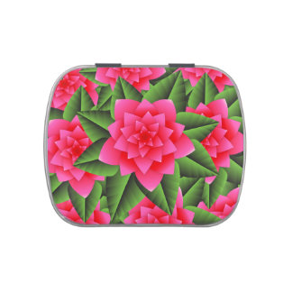 Coral Pink Camellias and Green Leaves Jelly Belly Candy Tins