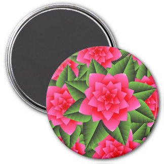 Coral Pink Camellias and Green Leaves Magnet