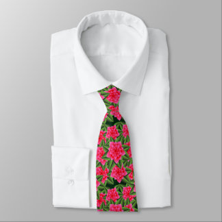 Coral Pink Camellias and Green Leaves Neck Tie