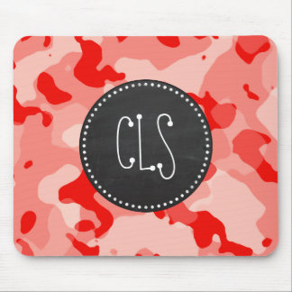 Coral Pink Camo; Camouflage; Retro Chalkboard Mouse Pad