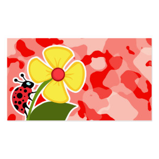 Coral Pink Camo; Ladybug Double-Sided Standard Business Cards (Pack Of 100)
