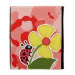 Coral Pink Camo; Ladybug iPad Folio Case