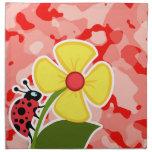 Coral Pink Camo; Ladybug Printed Napkin