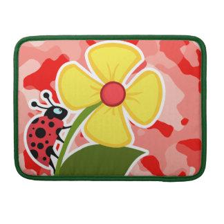 Coral Pink Camo; Ladybug Sleeve For MacBooks