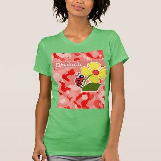 Coral Pink Camo; Ladybug T-Shirt