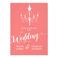 Coral Pink Chandelier Wedding Invitation