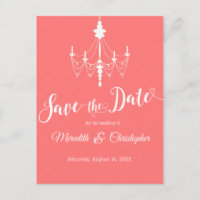 Coral Pink Chandelier Wedding Save the Date Announcement Postcard