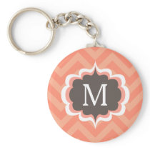 Coral Pink Chevron Pattern Custom Monogram Keychain